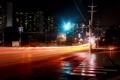 Картинка зебра, город, дорога, ночь, улица, огни