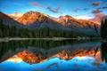 Картинка закат, лес, Banff National Park, пейзаж, Canada, озеро, Alberta