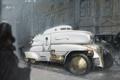 Картинка машина, город, дождь, арт, стимпанк, белая, steampunk