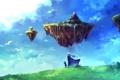 Картинка девушка, острова, облака, птицы, город, водопад, ребенок
