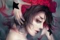 Картинка девушка, лицо, кровь, розы