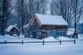 Картинка снег, дом, Miners Log Cabin
