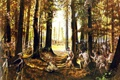 Картинка лес, оружие, масло, картина, солдаты, экипировка, холст