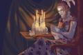 Картинка платье, стул, женщина, открытая, прическа, книга, арт