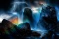 Картинка брызги, камни, скалы, водопад, радуга, поток