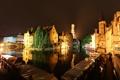 Картинка небо, ночь, мост, огни, дома, канал, Бельгия