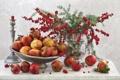 Картинка ягоды, свеча, ваза, натюрморт, подсвечник, гранат