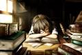 Картинка девушка, книги, аниме, наушники, арт, очки, спит