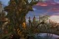 Картинка облака, kazamasa uchio, ucchiey, водоем, огоньки, дерево, город