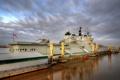 Картинка город, корабль, порт, Liverpool, HMS Illustrious
