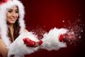 Картинка снегурочка, перчатки, снег, девушка, улыбка