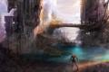 Картинка мост, город, будущее, фантастика, человек, сооружение, арт