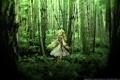 Картинка лес, зеленый, красиво, анимэ, дэвушка