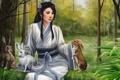 Картинка лес, девушка, звери, арт, зайцы, азиатка, Natalie Becker