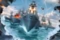 Картинка море, волны, небо, огонь, взрывы, корабли, fire