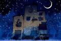 Картинка ночь, дом, звёзды, арт