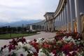 Картинка цветы, горы, Парк, Казахстан, триумфальная арка, Алма-ата