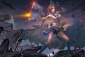 Картинка девушка, оружие, скалы, выстрел, арт, Final Fantasy, Xing Ye