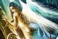 Картинка Девушка, крылья, ангел, меч, щупальца, татуировки, слизь