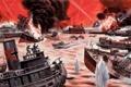 Картинка огонь, дым, взрывы, корабли, порт, сражение, Mort Künstler