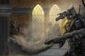Картинка оружие, робот, арт, солдаты, колонна, выстрелы