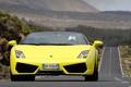 Картинка дорога, желтый, движение, суперкар, кабриолет, вид спереди, ламборгини