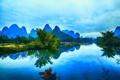 Картинка Гуанси, река, Яншо, горы, отражение, Китай
