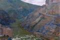 Картинка пейзаж, горы, река, дома, картина, Испания, Толедо
