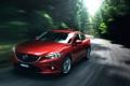 Картинка car, Mazda 6, Green, Road, Sedan, Motion, Blur