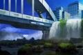 Картинка город, водопады, заросли, арт, мост, птицы, камни
