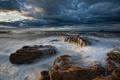 Картинка море, волны, небо, тучи, камни, скалы
