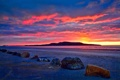 Картинка пляж, камни, рассвет, залив, Исландия