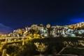Картинка пейзаж, ночь, огни, дома, Испания, Куэнка