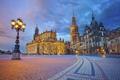 Картинка небо, огни, дома, вечер, Германия, Дрезден, площадь