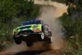 Картинка прыжок, пыль, ford, rally, ралли, португалия, wrc