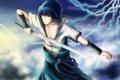 Картинка взгляд, улыбка, оружие, молнии, меч, Наруто, Naruto