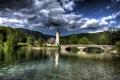 Картинка облака, Bohinj, лес, дом, башня, озеро, Словения