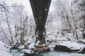 Картинка зима, снег, деревья, мост, река, камни, забор