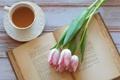 Картинка любовь, цветы, чай, тюльпаны