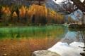 Картинка осень, деревья, горы, озеро, камни