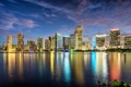 Картинка закат, город, огни, океан, здания, Майами, небоскребы
