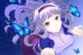 Картинка снег, бабочки, волосы, костюм, девочка, лента, локоны