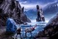 Картинка лед, озеро, животное, человек, олень, льды, льдины