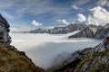 Картинка небо, облака, горы, вершины, Германия, Бавария, Альпы