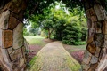 Картинка деревья, природа, дорожка, арка, камня