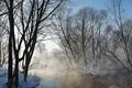 Картинка зима, пейзаж, туман, река