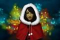 Картинка девушка, новый год, арт, капюшон, боке