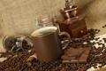 Картинка кофе, шоколад, зерна, чашка, банка, корица, коричневая