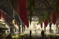 Картинка город, арт, колонны, арки, холл, Last Bastion, торговец