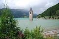 Картинка небо, горы, озеро, Германия, церковь, Reschenstausee